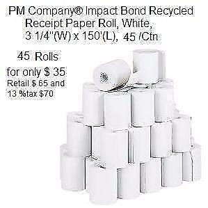 "$35 Staples Paper Roll 3-1/4"" x 185' 45 Pack Quality rolls for use on popular calculators cash registers"