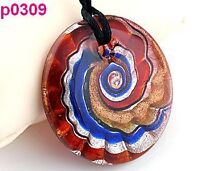 multicolor round art abstract murano glass pendant