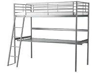 Ikea SVÄRTA Loft bed frame with desk and shelf