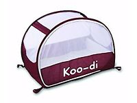 £35 Koo-di Pop Up Travel Bubble Cot ( Aubergine) with Koodi Inflatable Mattress & fitted sheets set