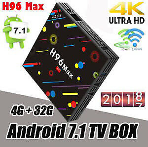 2018 H96 MAX 4/32GB ANDROID 7 TV BOX KODI 17.6 NETFLIX 4K BT