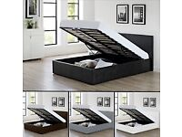 💛💛Cheapest Guaranteed💛💛DOUBLE LEATHER STORAGE BED FRAME GAS LIFT UP WITH CHOICE OF MATTRESSES