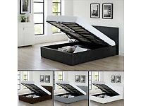 🔥🔥100% PRICE MATCH🔥🔥BRAND NEW DOUBLE OTTOMAN STORAGE GAS LIFT UP BED FRAME BLACK BROWN
