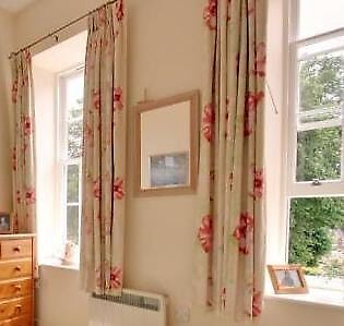 2 Sets Of Curtains Dark Pink And Lime Green Extra Long