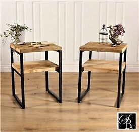 Industrial Pair of bed side tables