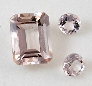 2.02 Carat 8.86 x 6.80 mm Emerald Cut & (2) .25 Carat Oval Cut Morganite