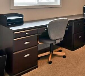 Desk with file cabinet