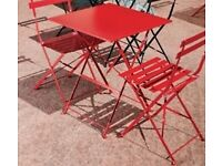Stylish Bolero BLACK coated steel folding garden chairs (4) and 2 tables QUICK SALE NEEDED!!
