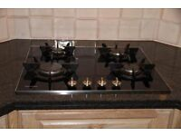 Miele 4 burner black glass top gas hob KM 361 G - immaculate condition