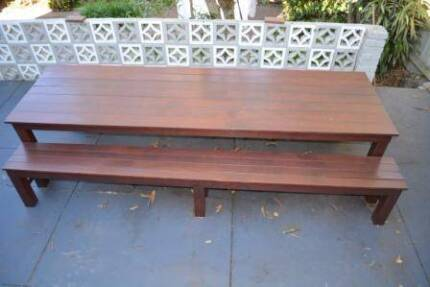 14 Seater Merbau Dining Table and 2x Bench Seats Clovelly Eastern Suburbs Preview
