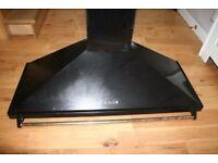 Rangemaster Leisure Cooker Hood. Black with brass rail. 120 x 50cm. Excellent condition