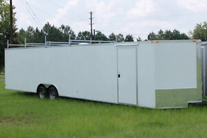 8 NEW 8.5 FOOT BY 24 FOOT V NOSE CAR HAULER, CARGO TRAILER, 4y P