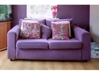 Metal action plum material sofa double bed - v good condition