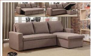 2PC FABRIC OR BONDED LEATHER SECTIONAL WITH PULL OUT BED AND STORAGE