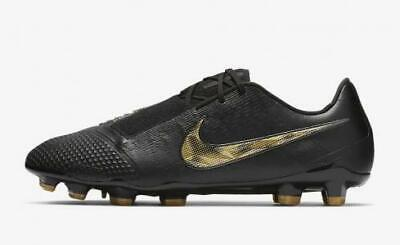 NIKE PHANTOM SIZE 9 ELITE FG BLACK GOLD SHOES CLEATS AO7540-077