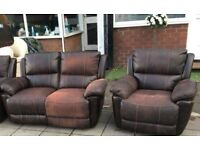 Leather Antique look Recliner 3 piece Sofa Set ex display 2 & 1 1 all reclining can deliver local