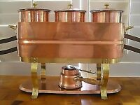 WALDOW ~BROOKLYN NEW YORK - Vintage 10-Pc Copper BUFFET BAIN MARIE