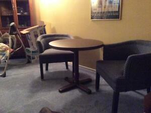 Pedestal table and 2 tub chairs