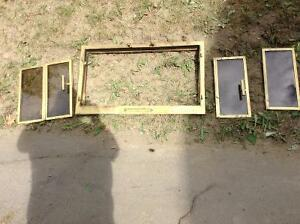 Wood fire place brass facing with etc.....