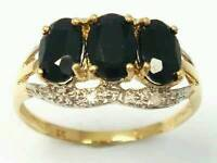9CT GOLD SAPPHIRE AND DIAMOND RING £70