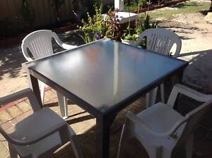 Outdoor Square metal table with glass top and 4 chairs Ballajura Swan Area Preview