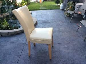 Beige leatherette dining room chairs