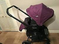 Joie pushchair, carseat and car base