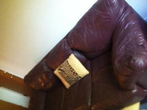 Wine color leather couch