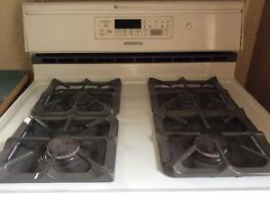 Gas stove with convection oven.