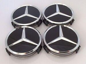 4x mercedes benz alloy wheel centre center caps black 75mm for Mercedes benz black center caps