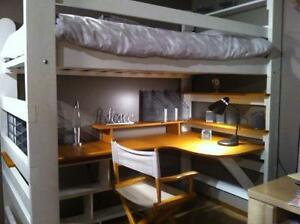 Loft Bed [Mattress included] with Beautiful Large Desk & Shelves