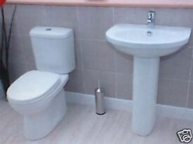 ***BRAND NEW*** 4 PIECE TOILET AND BASIN SET- TOILET PAN, CISTERN, BASIN & PEDESTAL