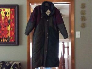 Full length down coat.