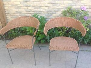 WICKER LOOK WROUGHT IRON PATIO CHAIRS $10.00 EACH!!