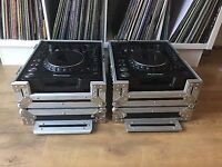 Pioneer cdjs mk2 1000 including flight cases and leads.