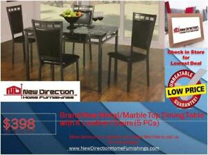 Lowest Price Guarantee! Brand New 5PCS Metal/Marble Top Dining Set@New Direction Home