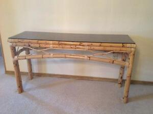 Rattan, Bamboo Sofa Table with Smoked Glass Top