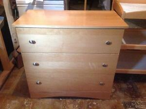 Maple Crib, 3 Drawer Dresser and Change Table