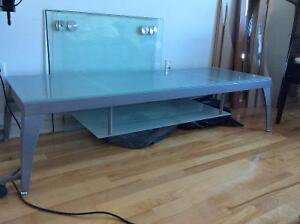 TV-Audio stand - frosted glass and brushed silver