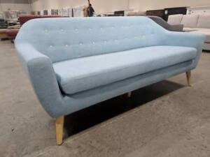 Retro Fabric Sky Blue Sofa - Set Available - Brand New Epping Whittlesea Area Preview