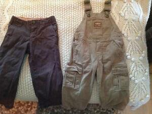 2T Chocolate Pants and Tan Overalls