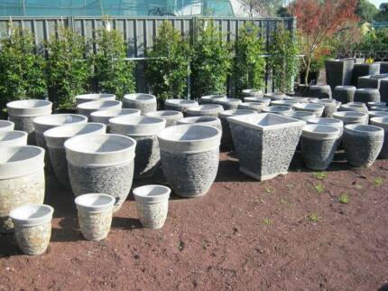 100's of pots in stock. Prices start at $10. Indoor and outdoor.