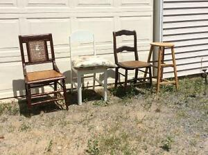 Looking to buy wooden chairs, stools etc.Willing to pay $5.00 ea