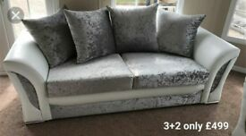 crushed velvet 3&2 sofa with FOOTSTOOL #