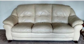 Cream leather 3 seater sofa, matching single arm chair, cream recliner chair with footstall,