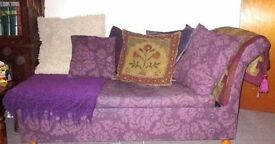 Purple Chaise Style sofa bed, bed unused so as new. Easy to use metal action. also matching items