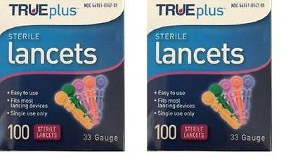 200 TRUE plus Diabetic Sterile Test Lancets, 33 Gauge, Fits Most Lancing Devices