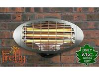 Firefly 2kW Wall Mounted Infared Quartz Bulb Electric Outdoor Patio Heater