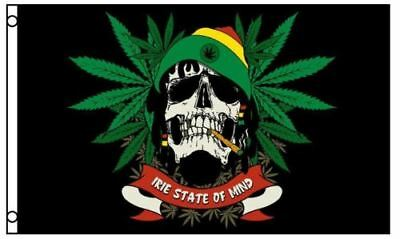 Rasta Skull Irie State of Mind Marijuana Flag 3 x 5 Foot Party Banner Pot Weed