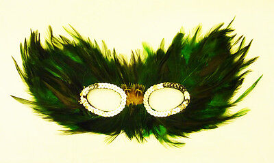 Green And Black Feather Eye Mask Masquerade Ball Fancy Dress (Black And Green Masquerade Mask)